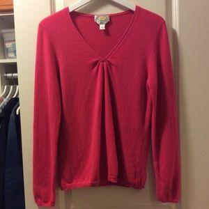 Talbots Cashmere V-Neck Dark Pink Sweater Size L
